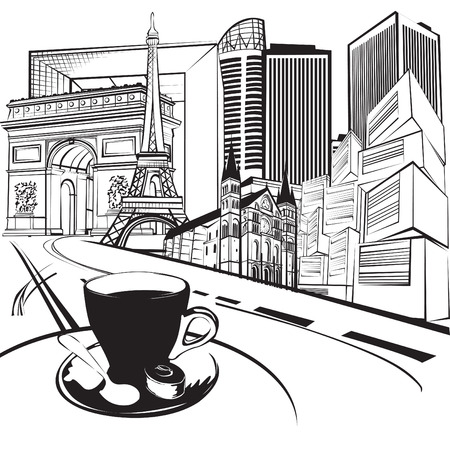 black and white sketch of the road and landmarks Vector