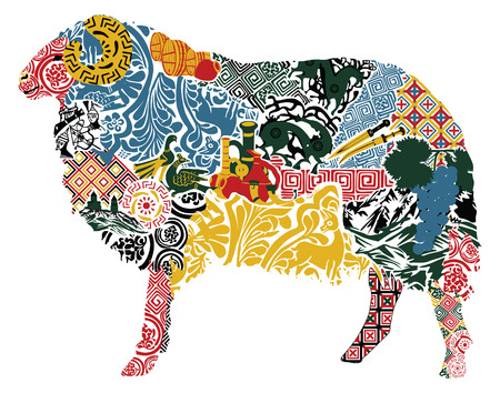 silhouette of a sheep in the Georgian ornament   イラスト・ベクター素材