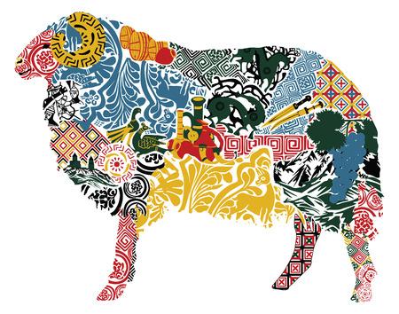 silhouet van een schaap in de Georgische ornament Stock Illustratie