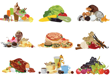 Set of different food  Vector