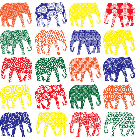 colorful elephants in patterns in a row