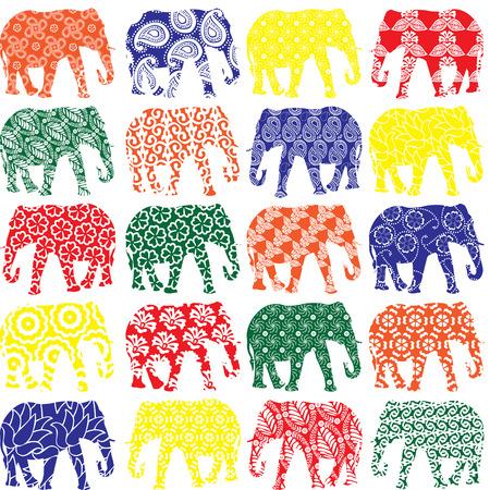 kleurrijke olifanten in patronen op een rij
