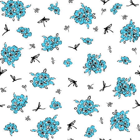 seamless background with blue wildflowers and dragonflies  Vector