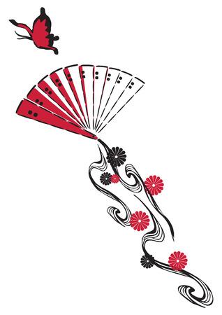 black fan: fan in the form of a kite on white background