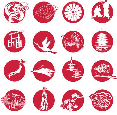 symbols of Japan elements Vector
