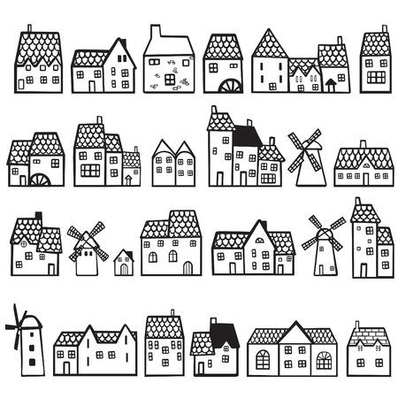 molino de agua: casas set pintado Vectores
