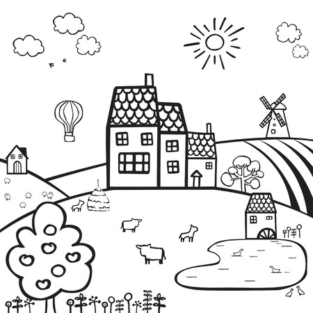 black and white drawing of a farm on the hills  Vector