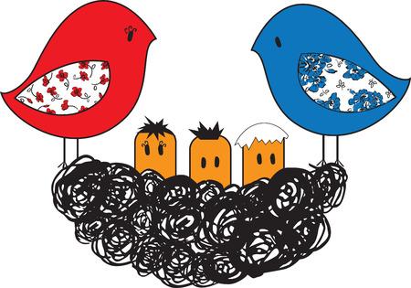 procreation: stylized birds in a nest with three chicks