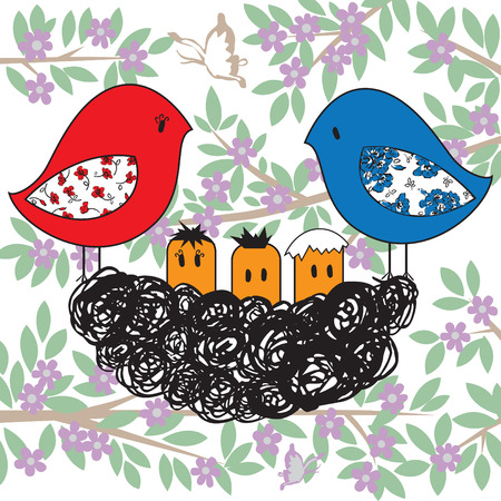 nest with birds on a flowering tree  Vector