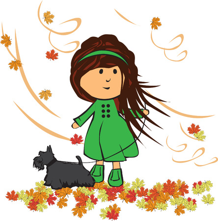 and windy: little girl in the autumn with a dog