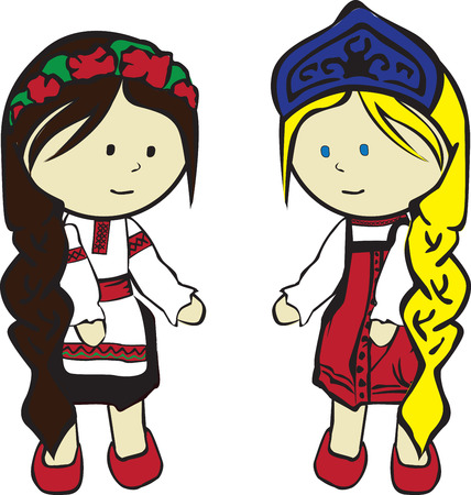 national costume: two Slavic girls in costumes on a white background