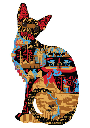 cat in the Egyptian patterns and miniatures  Illustration