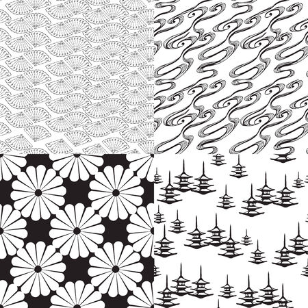 Four black and white Japanese seamless texture