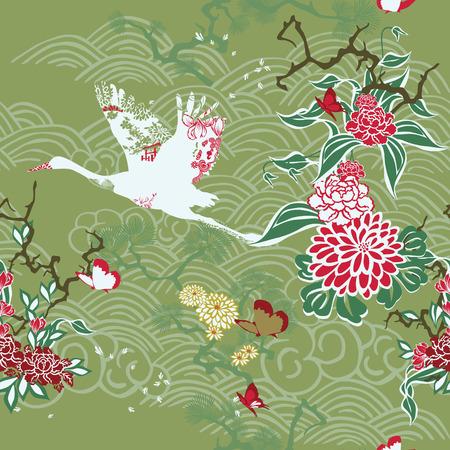 ikebana: Seamless background with crane and ikebana