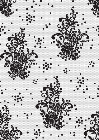 tatting: pattern in the form of floral black lace with dots