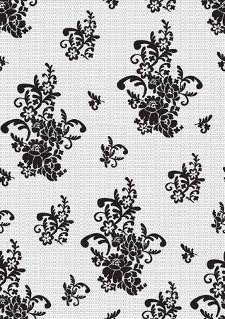 seamless pattern black lace Vector