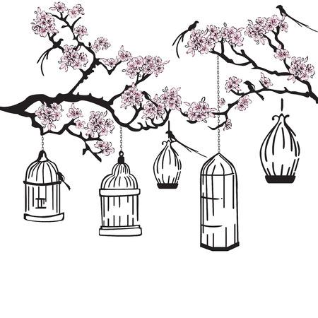 bird nightingale: flowering garden with a bird cage Illustration