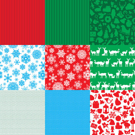 9 different seamless backgrounds Christmas theme Vector