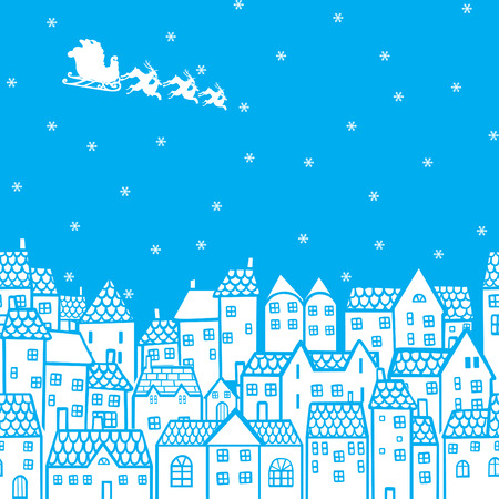 santa sleigh: Santa Claus in his sleigh over the houses Illustration