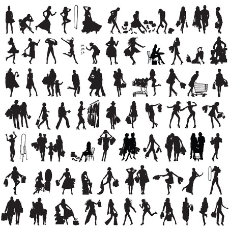 markdown: set of silhouettes of shoppers