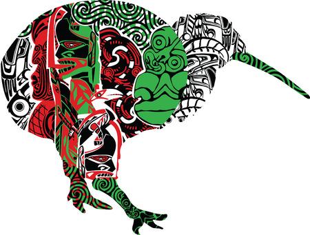 silueta del pájaro del kiwi en los patrones de los maoríes