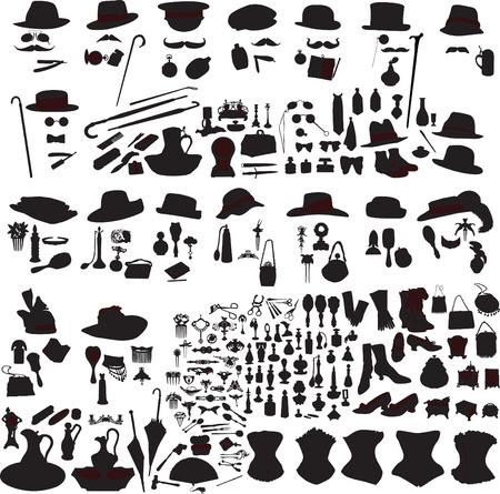 trivia: set of retro accessories silhouettes of men and women