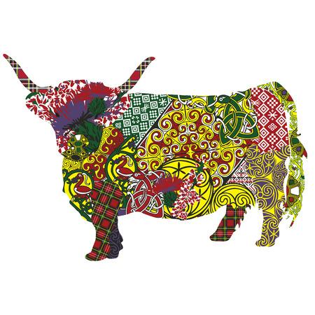 silhouet van een Schotse hoogland koe in Keltische patronen