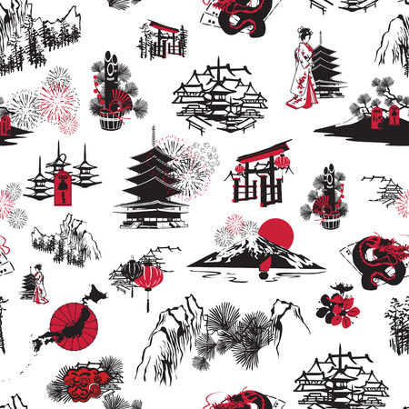 japanese fan: seamless pattern with thumbnail symbolizing the Japanese New Year Illustration