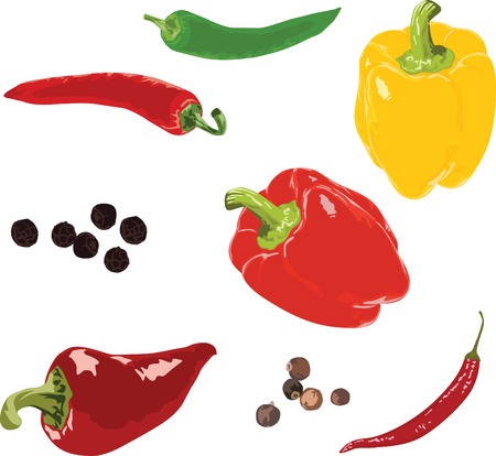 pimento: set of different peppers isolated