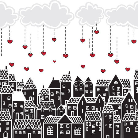 rain window: clouds with hearts over the city