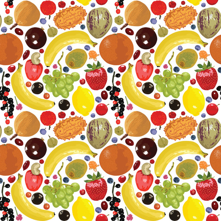 seamless pattern with bright fruit and berries Vector