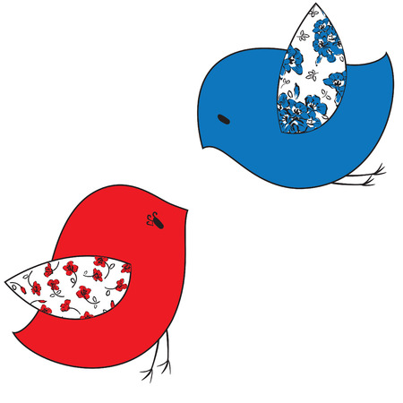 intimacy: Two stylized birds on a white background Illustration