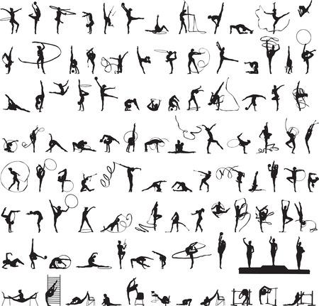 bailarines silueta: conjunto de siluetas de Gimnasia Rítmica Vectores