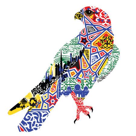 halcón de los patrones y las miniaturas que simbolizan los Emiratos Árabes Unidos sobre un fondo blanco