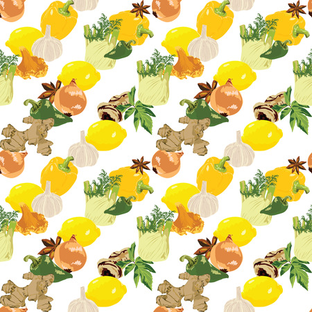 ginger root: seamless pattern with spices and vegetables on a white