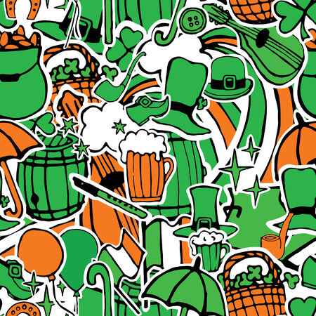 attributes: seamless pattern of colors Irish flag with the attributes of the feast of St. Patrick