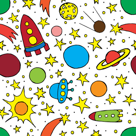 childrens drawings of rockets and stars seamless background