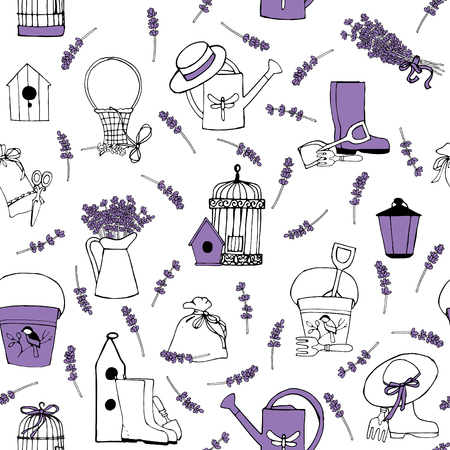lavender flower: seamless pattern with lavender and garden accessories Illustration