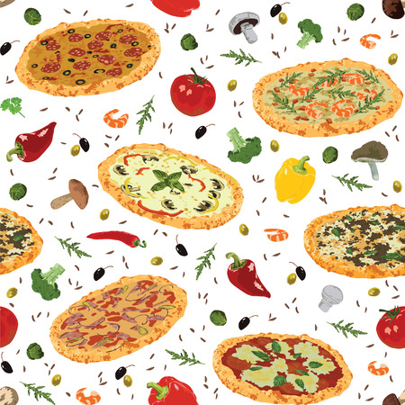 seamless pattern with different pizza and spices Vector