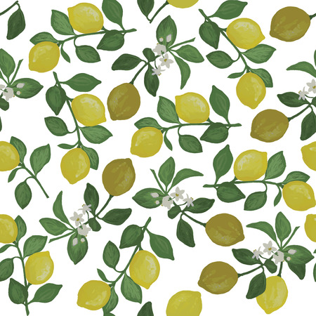 seamlessly: seamless pattern with lemon branches