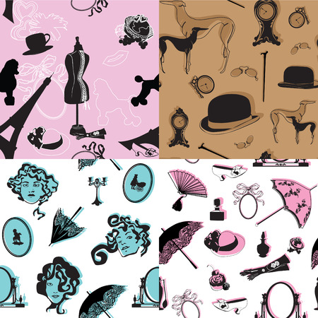 Four seamless pattern with retro theme Vector