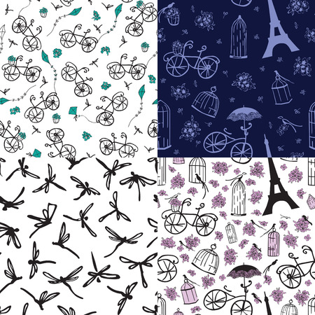 france painted: Four seamless pattern with flowers bike and kites