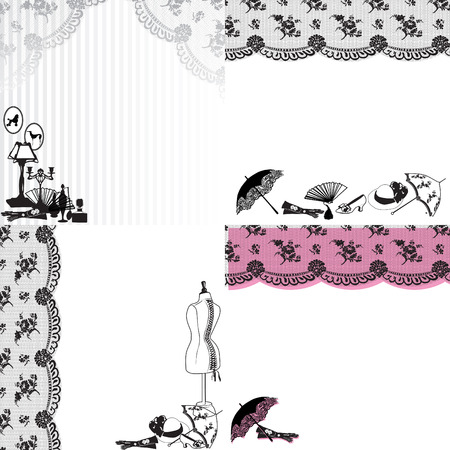 four patterns with lace and retro still life Vector