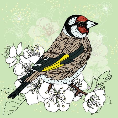 goldfinch: stylized bird on a flowering cherry tree