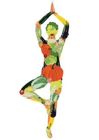 Silhouet van de sporter uit groenten Stock Illustratie
