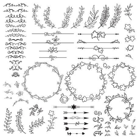 flower borders: set of elements for design hand-painted