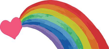 signo de paz: corazón y un arco iris sobre un fondo blanco