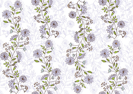 hand painted: seamless pattern with flowers hand painted Illustration