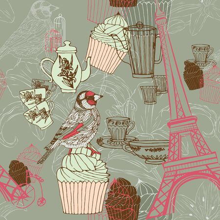 Seamless pattern in vintage style with cups and cakes Vector