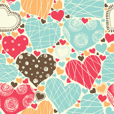 fondness: seamless pattern with hearts in retro style